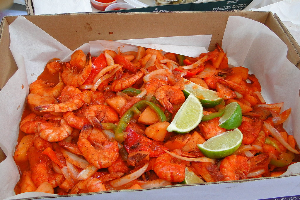 1 1 2 lbs of large shrimp with sauteed bellpeppers onio for Ports o call fish market