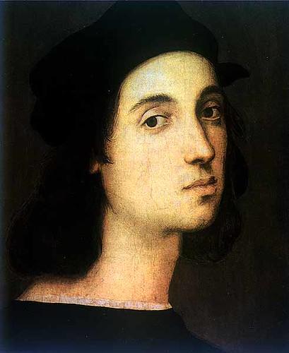 拉斐爾自畫像 拉菲爾是義大利文藝復興時期畫家,被公認為全世界最偉大的畫家之一,他雖然比達文西和米開朗基羅年輕,卻