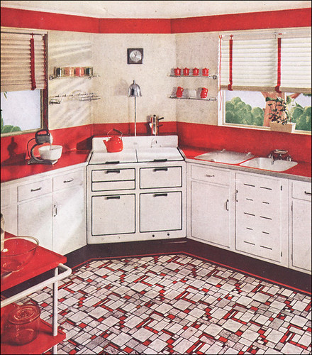 Vintage Kitchen Photography: 1937 Sealex Red & White Kitchen