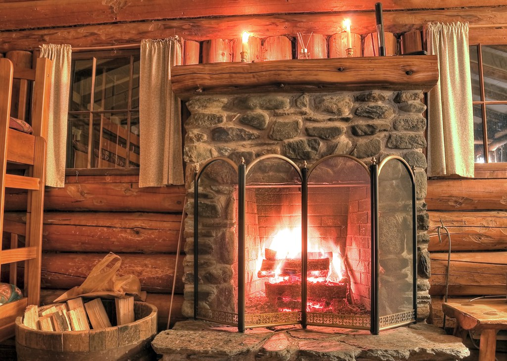 Rustic Log Cabin Fireplace Cozy Fire In The Fireplace In
