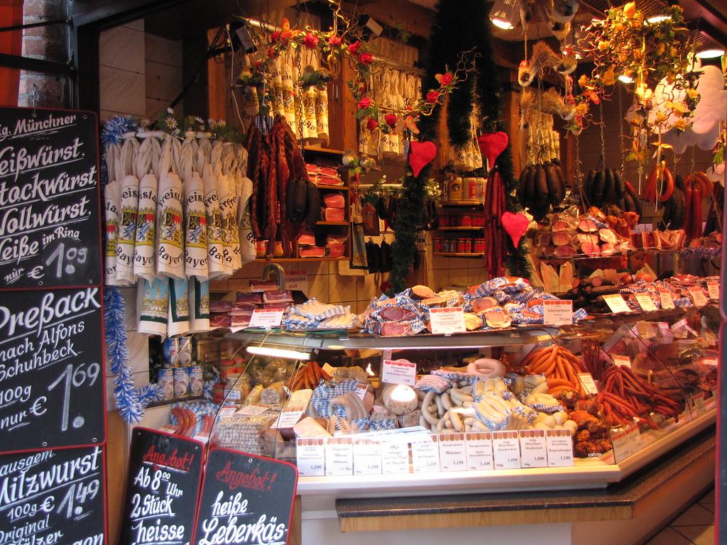 a sausage shop in the viktualienmarkt in munich germany