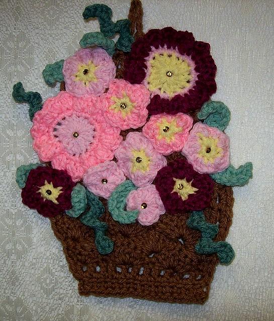Crochet Hanging Flower Basket Pattern : Crochet Basket of Flowers Potholder Wall Hanging Decor ...