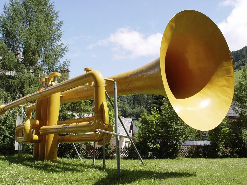 Big Trumpet   A huge model of a trumpet is set in a park