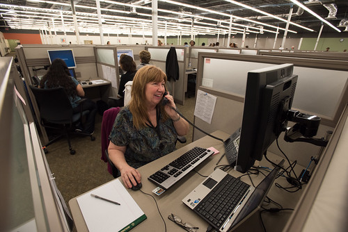 U.S. Department of Agriculture (USDA) Customer Service Specialist Sally Gorsuch helps a WebTA users log into their account while during her work at the USDA Office of the Chief Financial Officer (OCFO) National Finance Center's (NFC) Alternate Worksite Facility near Shreveport, LA, at Bossier City, LA, on Monday Feb 13, 2017.