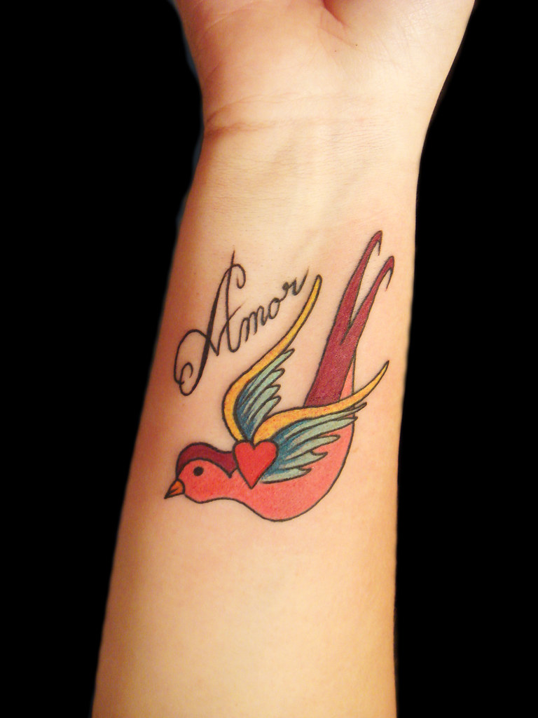 swallow and amor custom design miguel angel custom tattoo flickr. Black Bedroom Furniture Sets. Home Design Ideas