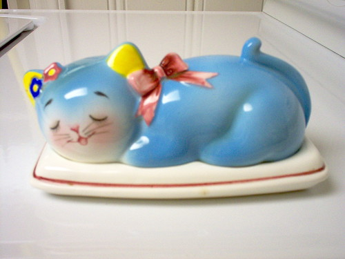 Norcrest Blue Cat Butter DIsh | by Cathygio
