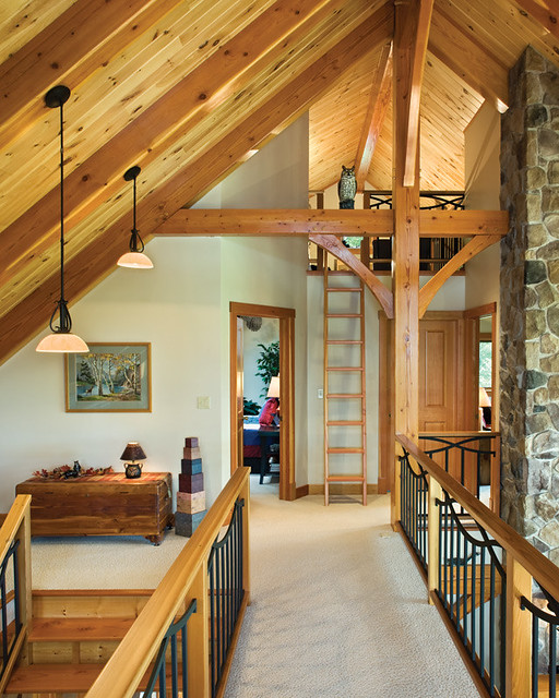 Hillside timber cottage timber frame home loft a for Timber frame bridge