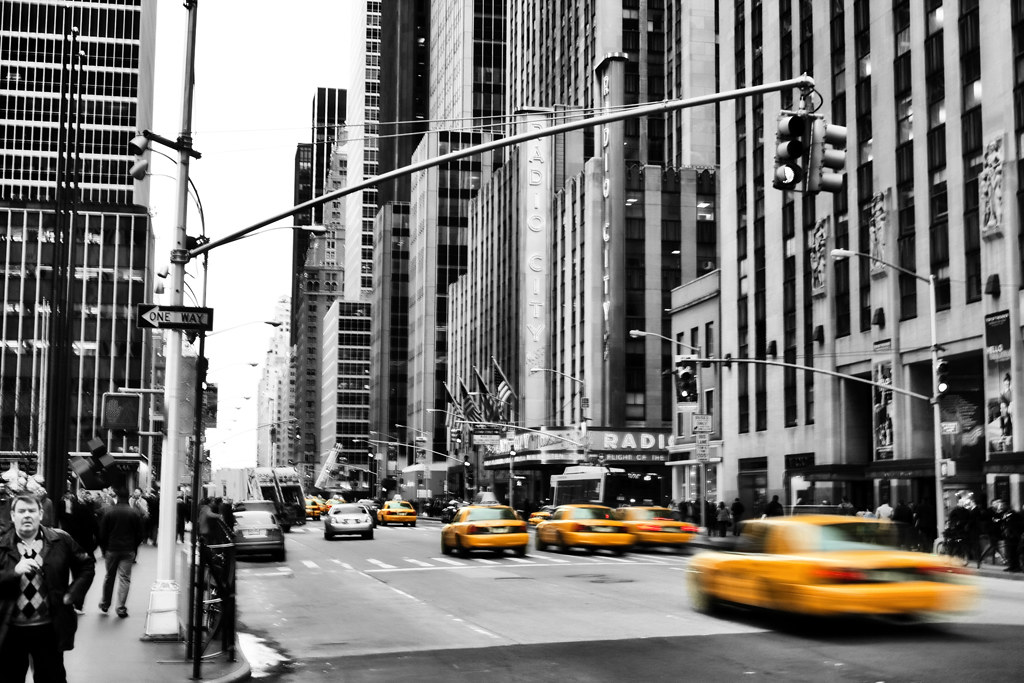 Yellow cabs in new york city by fromthenorth