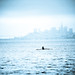 rowing in a blue san francisco skyline