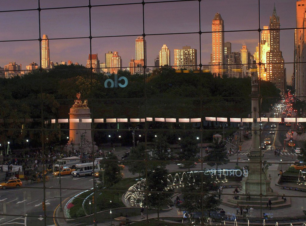 Columbus circle new york view from balcony in the for New york balcony view