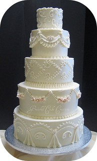 Traditional Ivory Wedding Cake | by Graceful Cake Creations