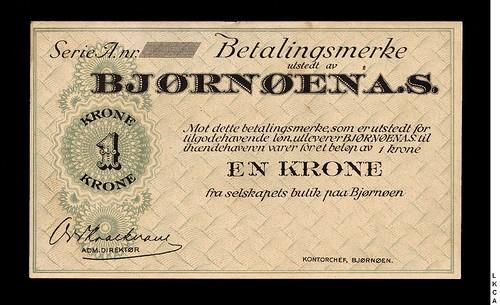 1923-24 Bear island 1 krone banknote