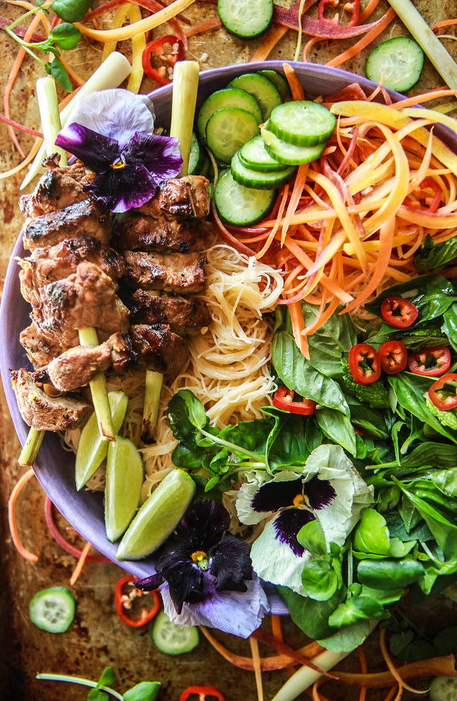 Lemongrass Pork Vietnamese Noodle Bowl from HeatherChristo.com