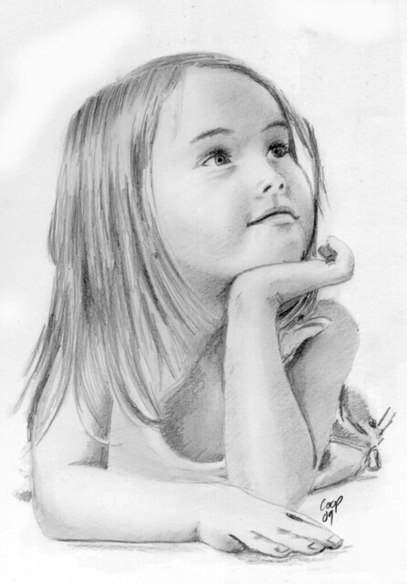 Young girl pencil sketch by coop and terry
