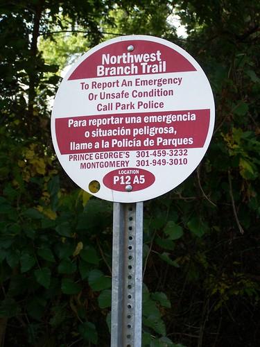 To report an emergency sign, Northwest Branch Trail, Prince George's County (Hyattsville/Mount Rainier)