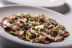 beef carpaccio, roast garlic and horseradish crema, baby oyster mushrooms | by scout.magazine