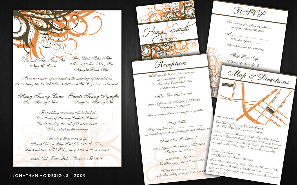 vietnamese wedding invitations orange and brown wedding invitations 8267