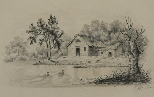 19th century miniature pencil drawing of pond | This ...