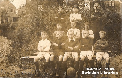 1909: Blunsdon Football Team at The Triangle at Hunts Hill, Blunsdon | by Local Studies, Swindon Central Library