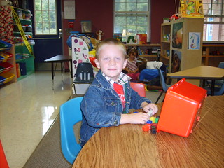 First week of school - Aidan with block shapes. | by lori05871