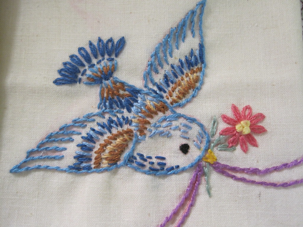 Bird And Ribbon Embroidery Bird Detail Part Of A Set