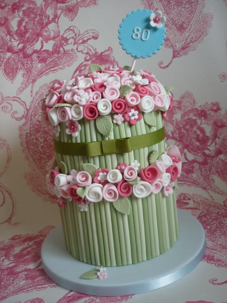 Bouquet 80th Birthday Cake