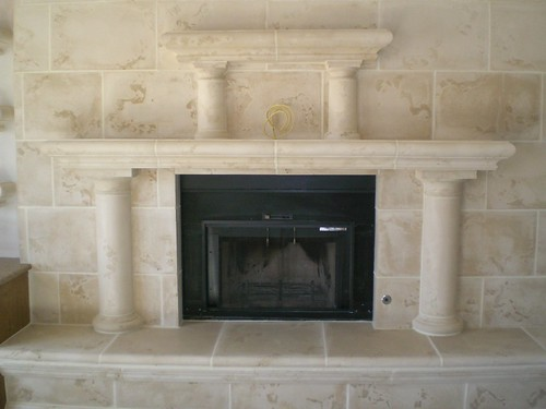 Cozy Bath Fireplace Stone Surrounds Stone Lions And