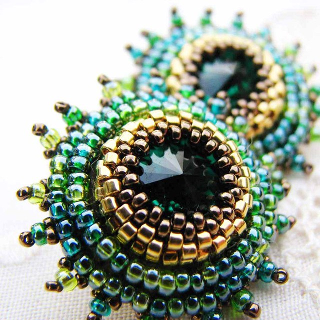 Emerald green and gold starburst earrings another pair