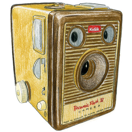 kodak brownie camera drawing. | kodak brownie camera