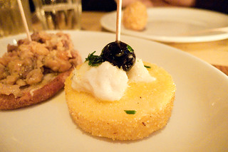 Polpo salt cod on grilled polenta | by foodieguide