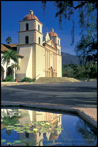 Mission Santa Barbara Reflected In