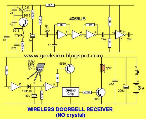 circuit for wireless doorbell receiver circuit(without cry\u2026 flickrcircuit for wireless doorbell receiver circuit(without crystal) by geeksinn blogspot