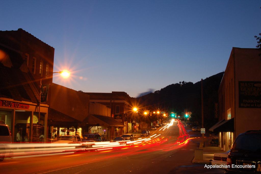 Boone Lights - King Street, Boone, NC on a beautiful summer ...