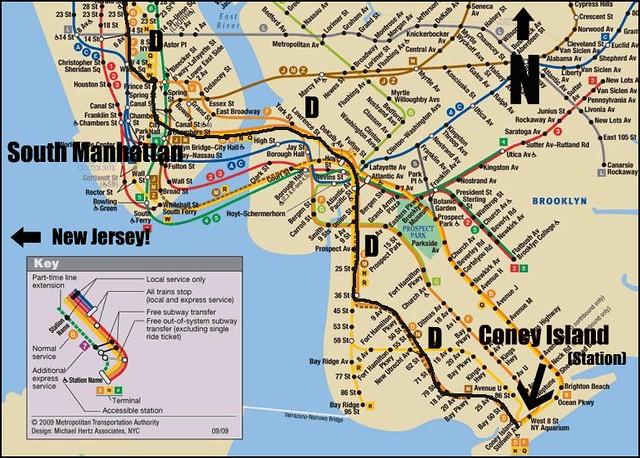 NYC Transit Map South Manhattan To Coney Island  Tony