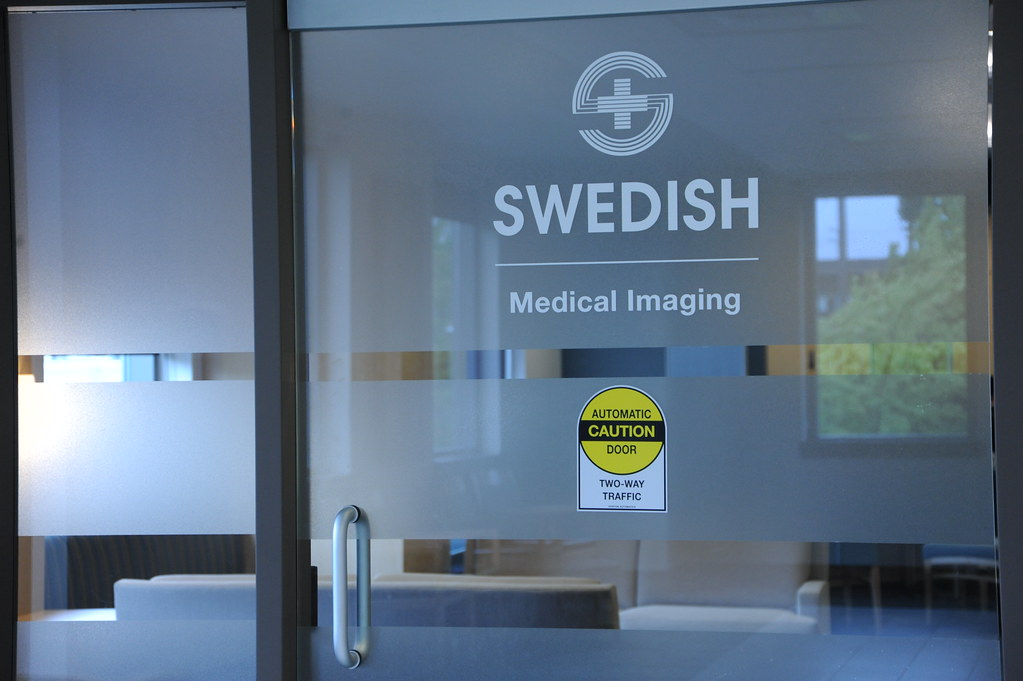 Frosted glass door, Logo, Swedish Medical Imaging, Caution ...