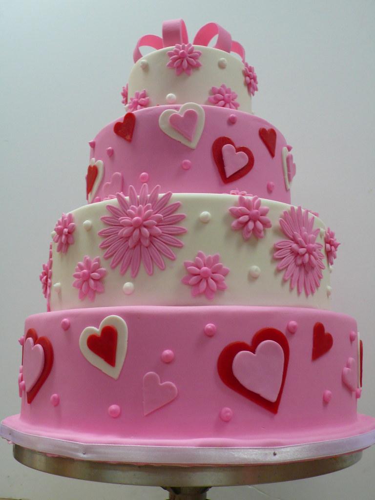 Pink And White Flowers Hearts Wedding Cake Zoe Elizabeth