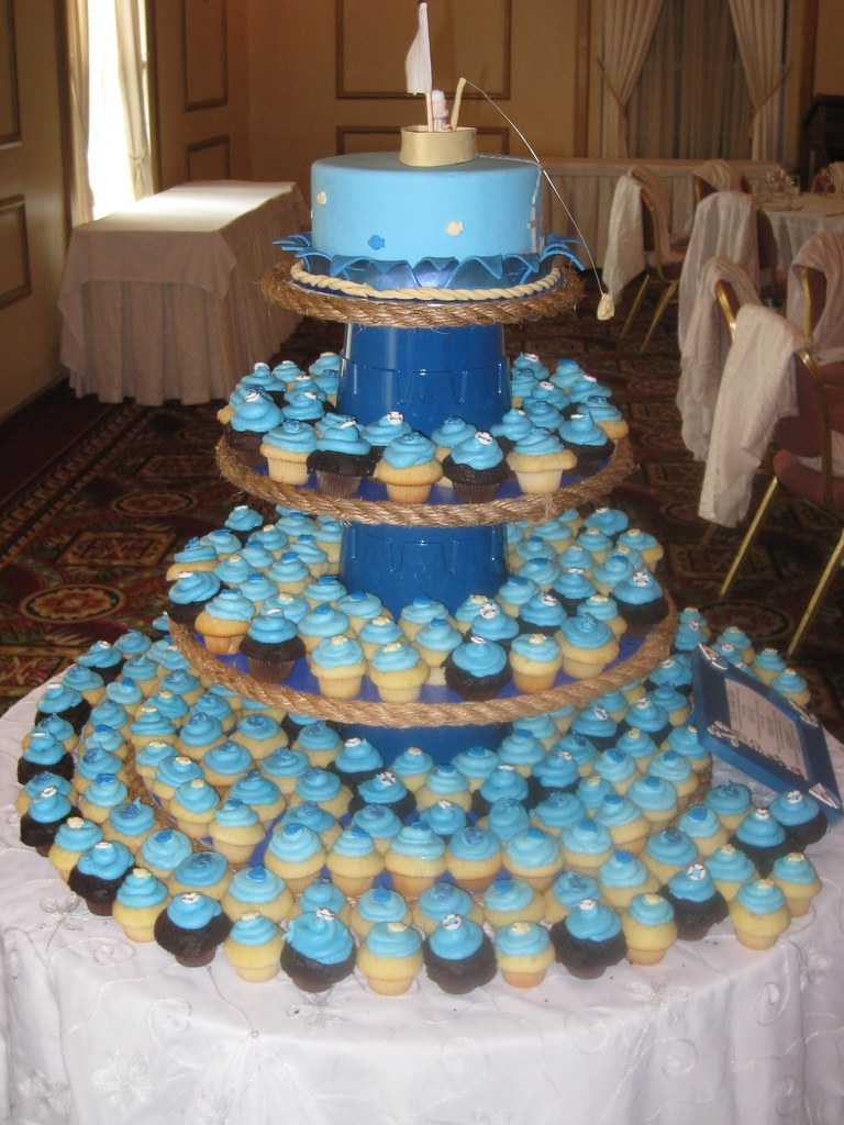 nautical themed baby shower cupcake tower nautical themed