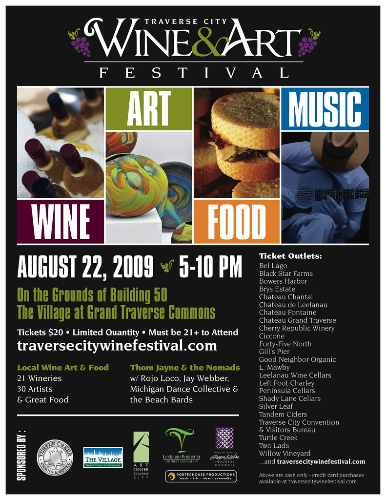 Traverse city wine art festival poster the traverse for Craft shows in traverse city mi