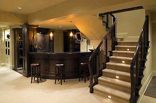 downstairs modern house bar basement luxury estate home