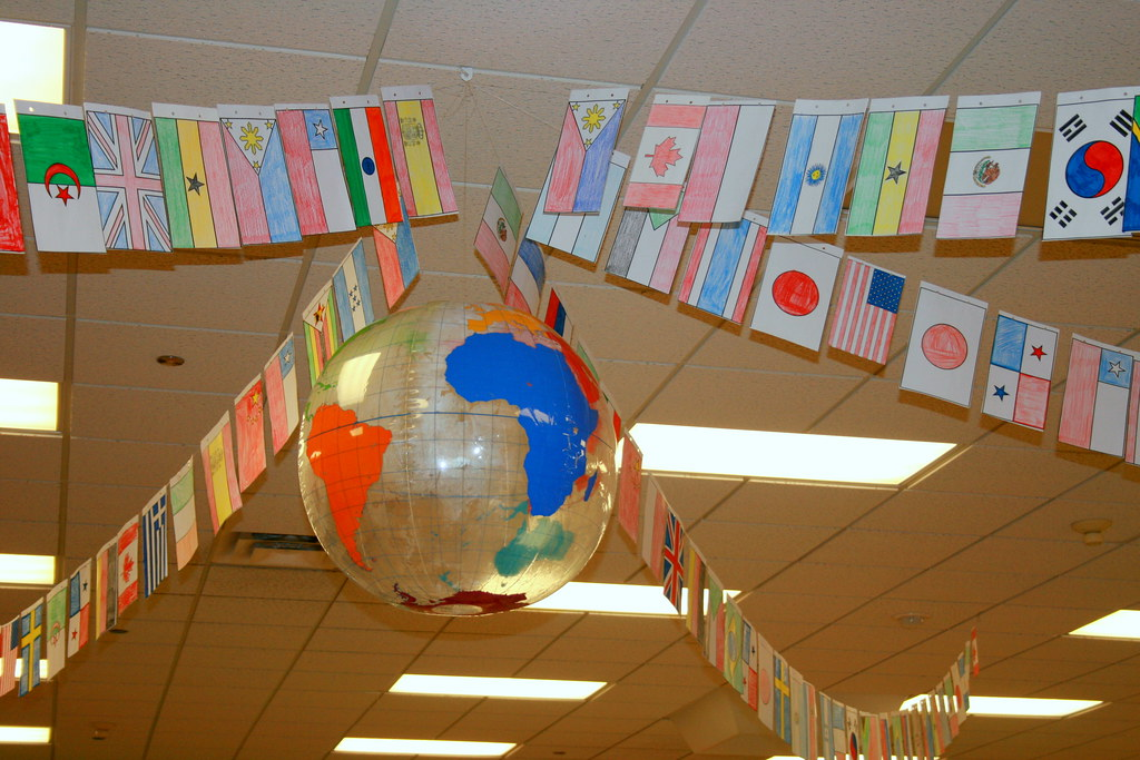 Geography Classroom Decor ~ Ceiling decorations scholastic book fair read around