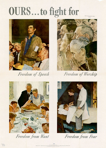 """four freedoms I use the word """"unprecedented,"""" because at no previous time has american   only one of these–the four-year war between the states–ever threatened our."""