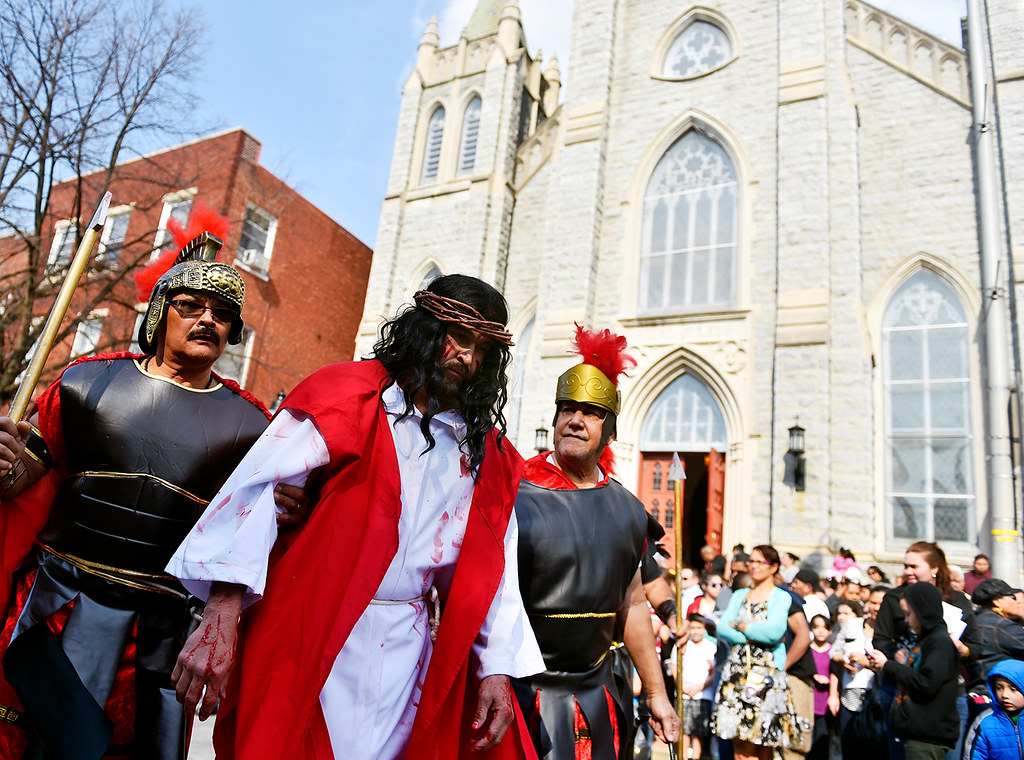 © 2016 by The York Daily Record/Sunday News. Jesús Solorio performs as Jesus Christ as he and others performing as Roman guards begin Good Friday street procession held by the Immaculate Conception of the Blessed Virgin Mary Church Friday, March 25, 2016, in York.