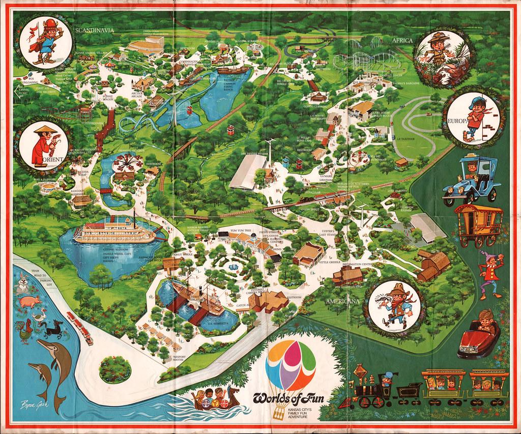 Worlds of Fun Kansas City Missouri Souvenir Map art Flickr