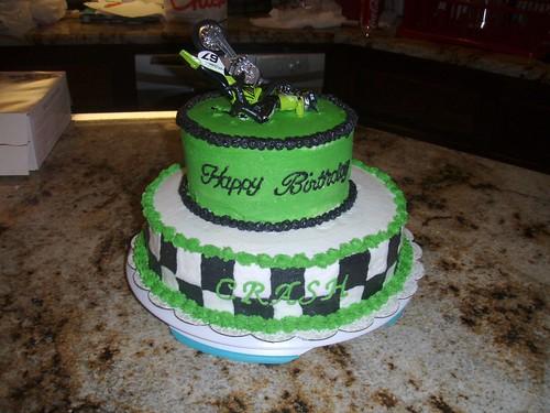 Motocross Birthday Cake 2 Tier Green White And Black