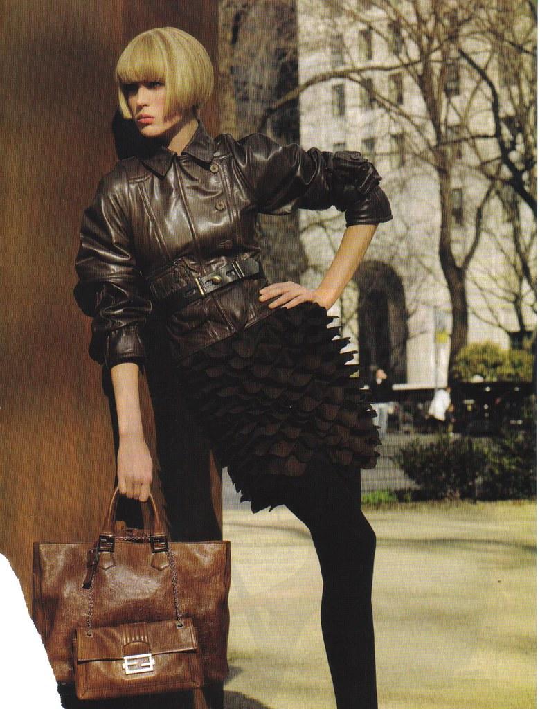 Fendi Fall Winter 2008 09 Raquel Zimmermann Pewter Leather Flickr Petal Skirt Black Jacket Brown
