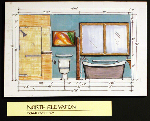 Elevation Plan Interior Design : Residential bath design north interior elevation intr