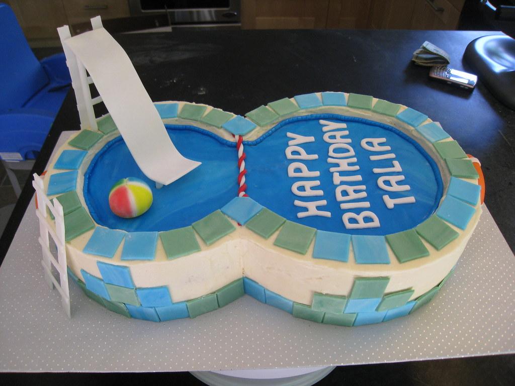 Talia S Swimming Pool Cake Thanks To Glass Slipper .
