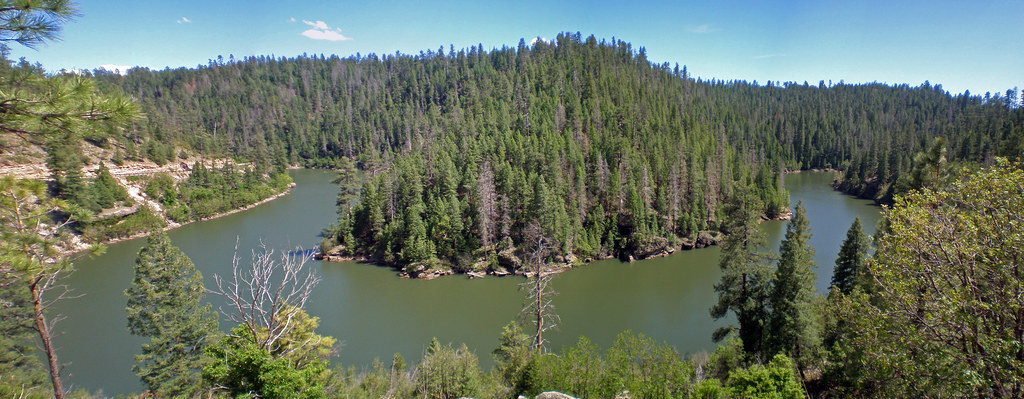 Panorama of blue ridge reservoir snaking around blue for Fishing in flagstaff