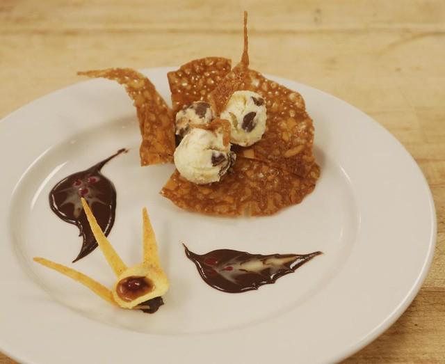 Ice cream, almond lace, coconut tuile | Vanilla ice cream wi ...