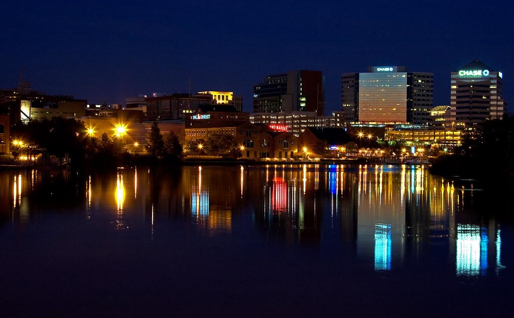 Wilmington Delaware Skyline At Night Working On Night